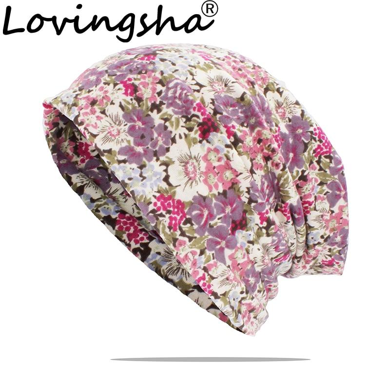 LOVINGSHA Multifunction Women Winter Autumn Hat Floral Teenager Adult Men Thin Scarf Girl Skullies Beanies Vintage Cap HT164