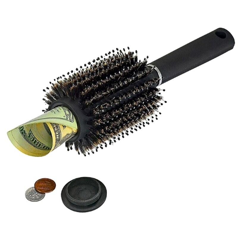 Cofre de cabelo com estilo escova secreta, caixa de segurança para esconder valores de dinheiro secretos com tampa removível