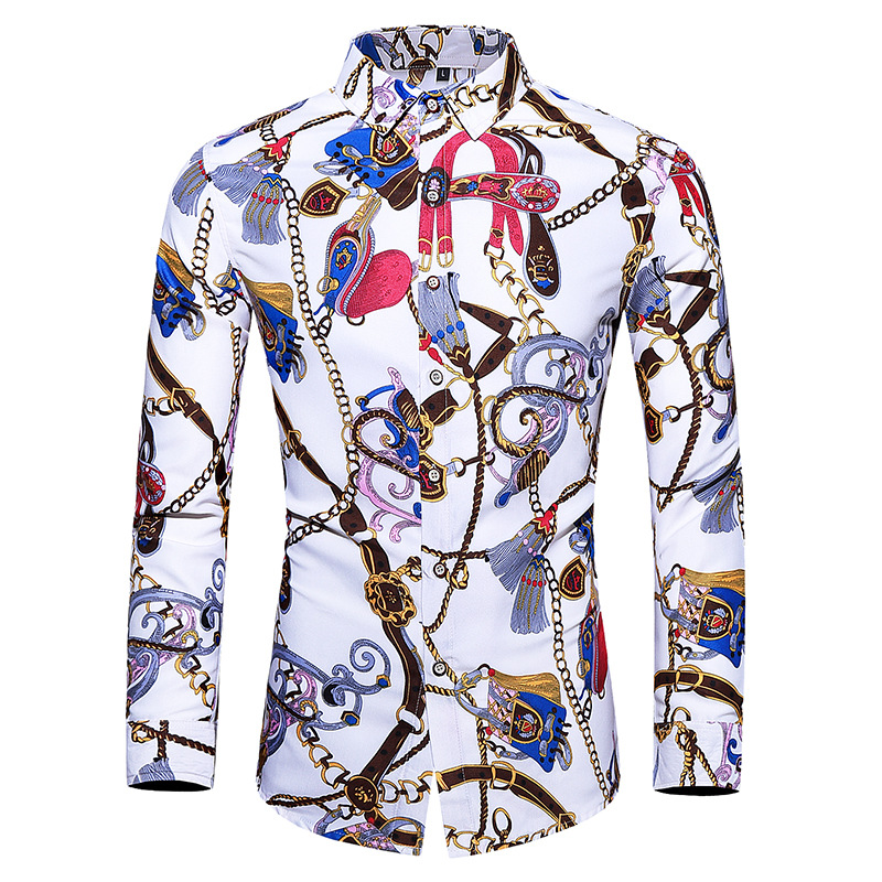 2019 Autumn New Style Plus-sized Loose-Fit Men Printed Shirt Long Sleeve Youth Night Club Style Trend