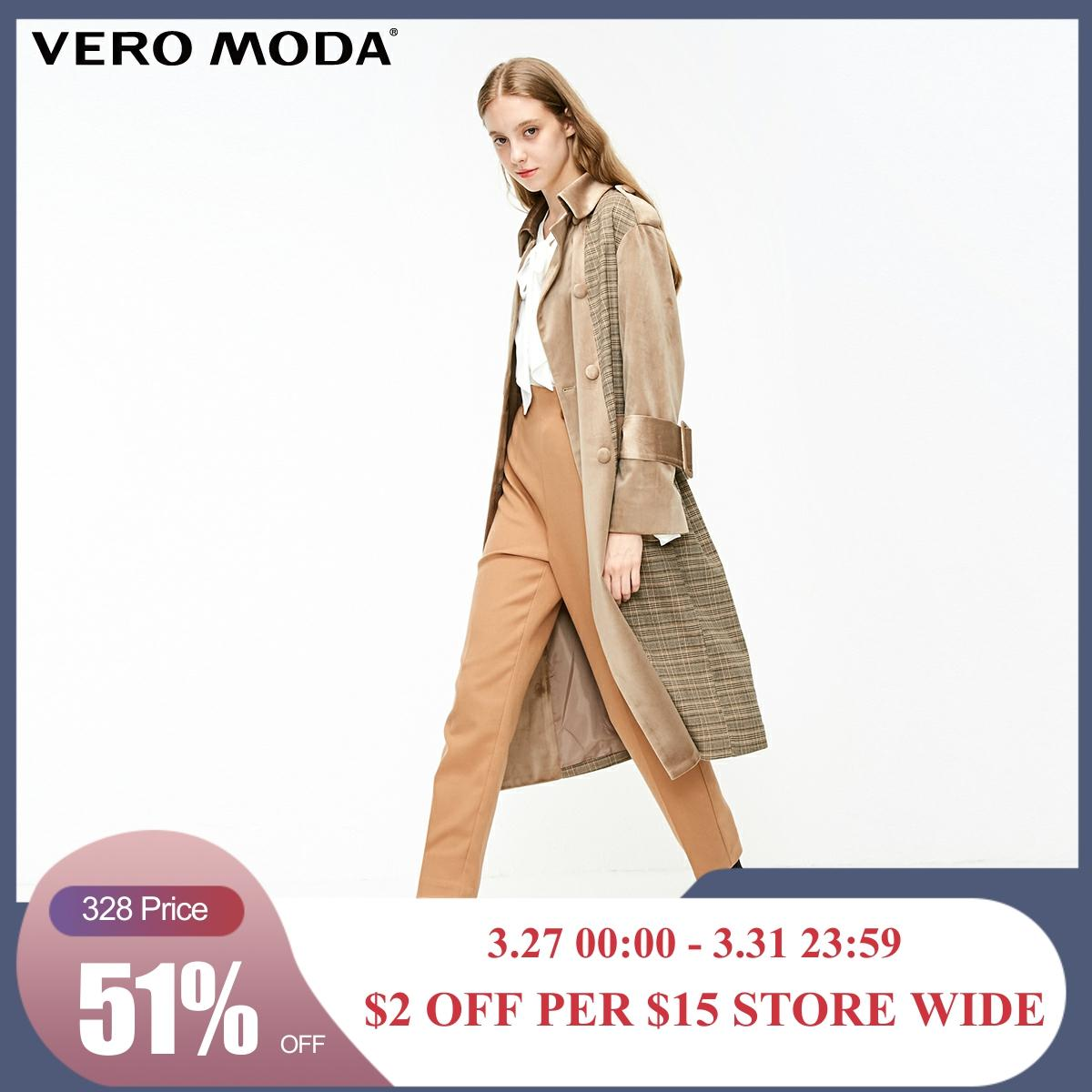 Vero Moda Women's Velvet Plaid Double-Breasted Coat Trench Coat | 318409507
