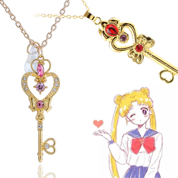 Cardcaptor Sakura Everlasting Sakura Props Accessory key necklace Girl lovely Cartoon Magic wand Love Pink Pearl Necklace image