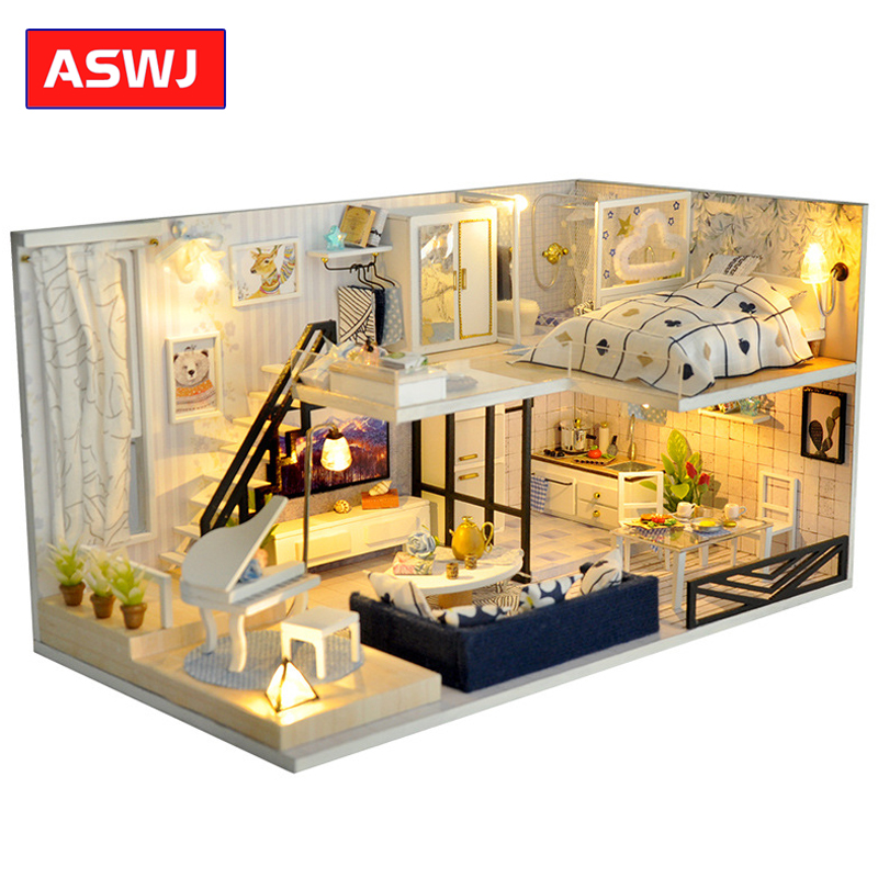 New DIY Dollhouse With Furnitures Wooden House Miniature Buildings Models Toys Roombox  For Children Birthday Christmas Gifts