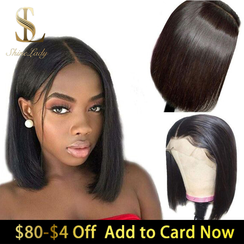 ShineLady 13x6 Human Hair Wigs Pre-Plucked Straight Wig Bleached Knots 180% Density Remy Hair Lace Front Wig Beauty Supply