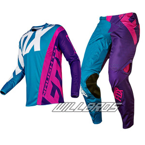 NAUGHTY FOX Mx New 360 Creo Teal Purple Pink MX Motocross Jersey & Pant Combo ATV Dirt Bike Gear Set Downhill riding suit