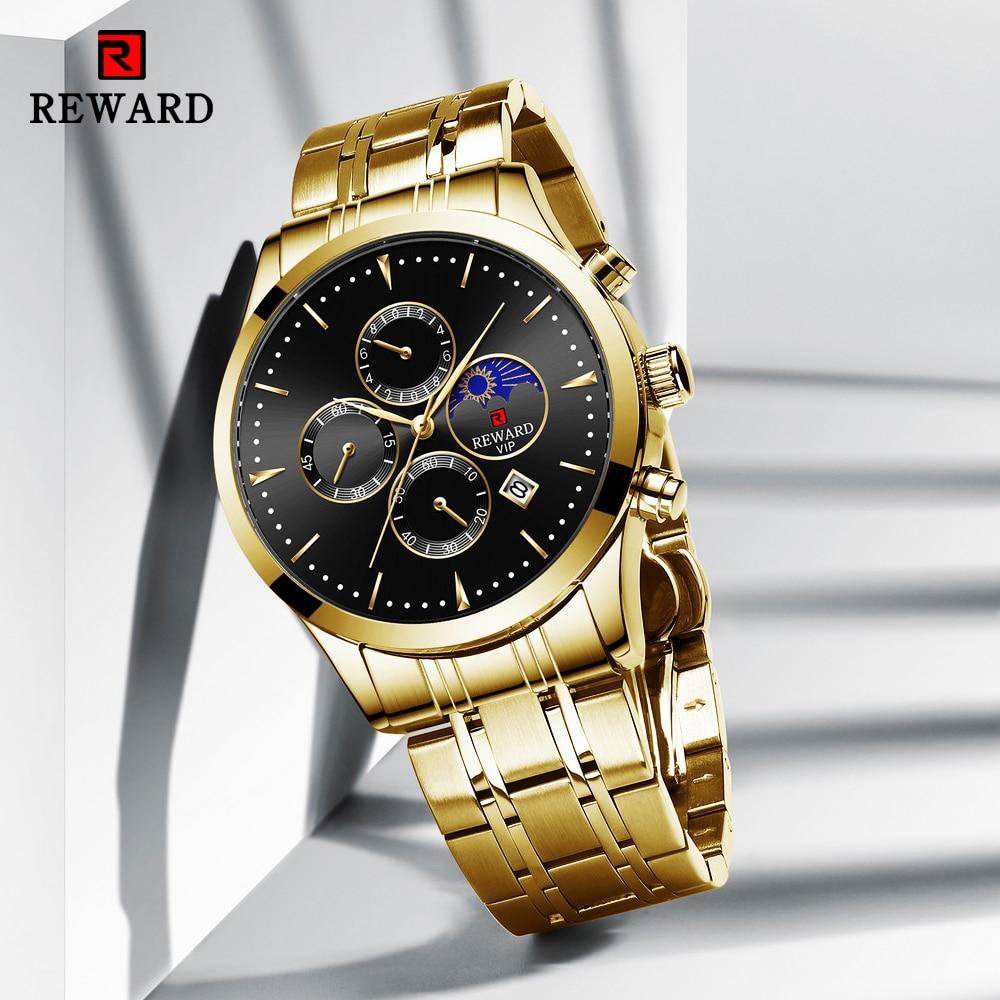REWARD 2020 New Fashion Men Watches Top Luxury Brand Gold Stainless Steel Quartz Watch Casual Sport Waterproof Men's Wristwatch