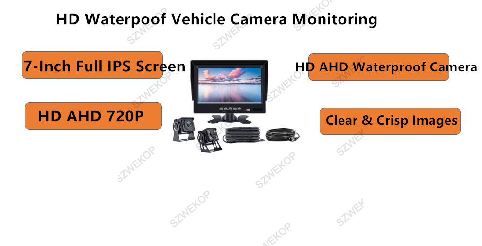 7-Inch 2ch surveillance Rear-Riew Video Camera Monitoring System for truck,bus;farm machine