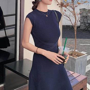 2020 New Women Slim Tank Dresses Split O Neck Knitted Long Dress Elegant Ladies Sleeveless Bodycon Sweater Dresses Vestidos 1