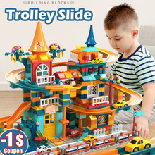 303-512PCS Marble Race Run Building Blocks Amusement Park Slide Blocks DIY Friends House Brick Toys For Children Gift