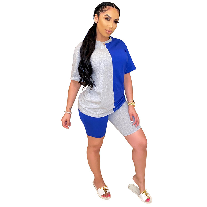 2020 Women Sets Summer Tracksuits Patchwork Sportswear Tops + Shorts Two Piece Suit Set Club Party Street 2 Pieces Sexy Outfits 3