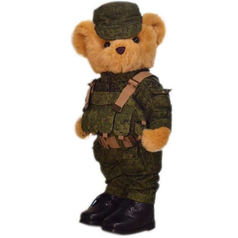 38cm créatif ours en peluche militaire uniforme ours Joint mobile peluche ours en peluche soldat animaux en peluche enfants anniversaire jouet