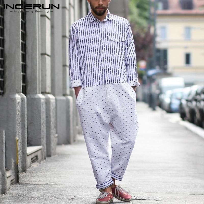 INCERUN Fashion Men Jumpsuit Print Patchwork Long Sleeve Joggers Button Lapel Pants Men Overalls 2019 Baggy Streetwear Rompers