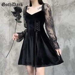 Goth Dark Velvet Vintage Gothic Lace Patchwork Dresses Black Cosplay Bandage Front Long Sleeve Women Dress Slim Clubwear Autumn