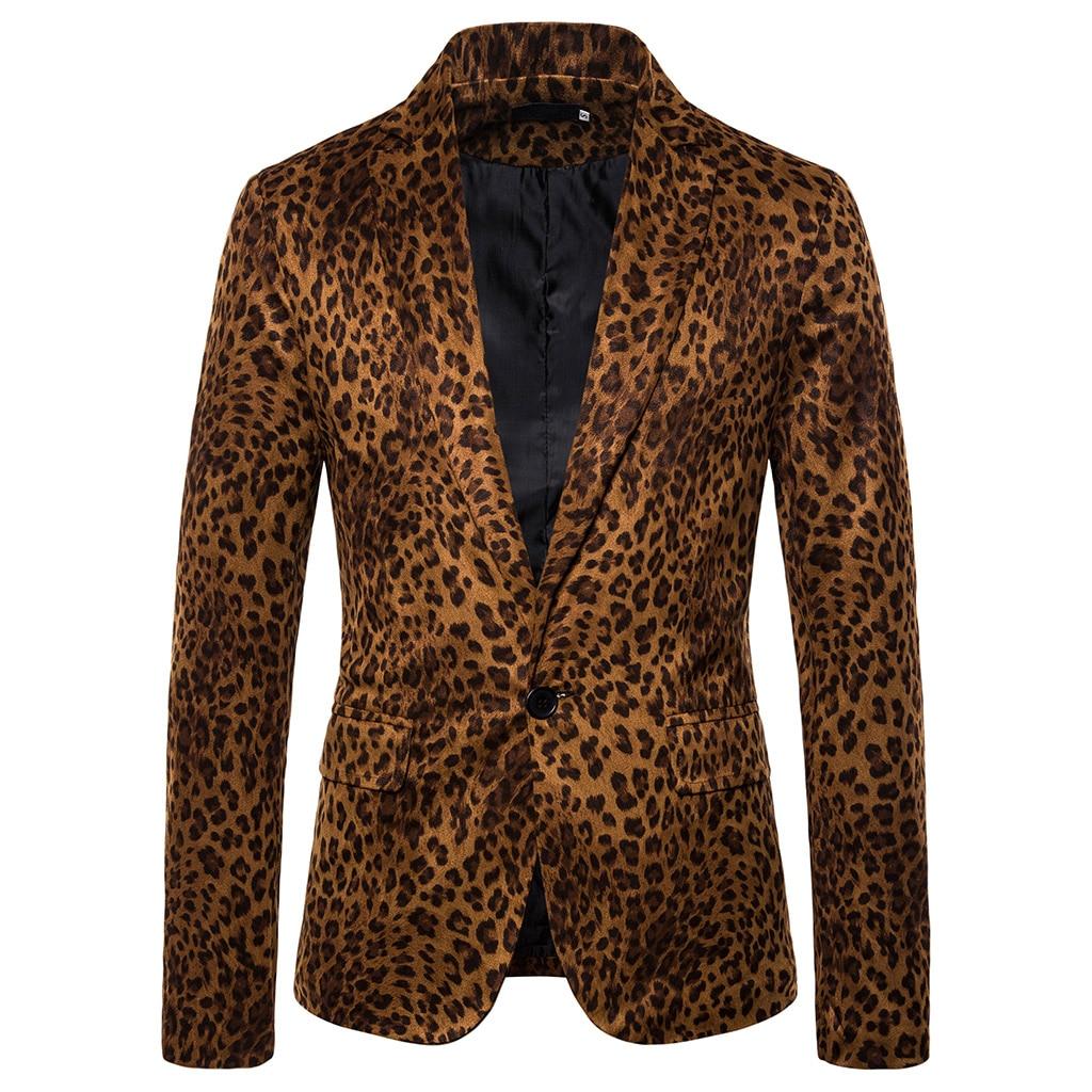 MJARTORIA  Korean Style Fashion Sexy Men's Slim Leopard Print Small Suit Nightclub Coat Flower Blazer Night Male  Costume