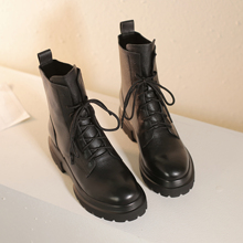 Women's genuine leather lace-up platform flats ankle boots leisure punk amrtin boots short autumn Motorcycle boots shoes size 42