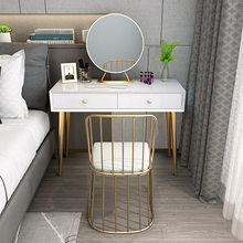 Iron Table Modern Simple Small Apartmen Dressing Table Stool Makeup Vanity Led Golden Mirror Organizer Drawers Desk Bedroom(China)