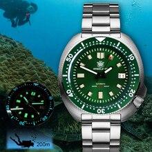 Steeldive japão nh35 diver relógio masculino c3 luminoso 200m relógio de mergulho dos homens relógio mecânico relógios automáticos homem sbdx001 mergulho