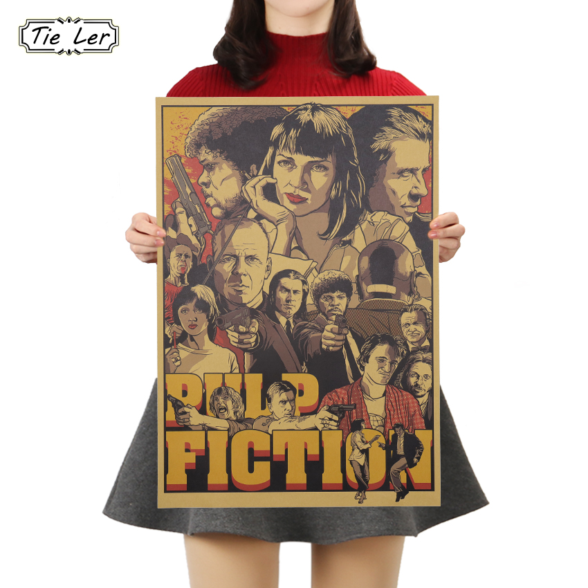 TIE LER Classic Movie Pulp Fiction Poster Cafe Bars Kitchen Decor Posters Adornment Vintage Poster Retro Wall Stickers 50.5*35cm