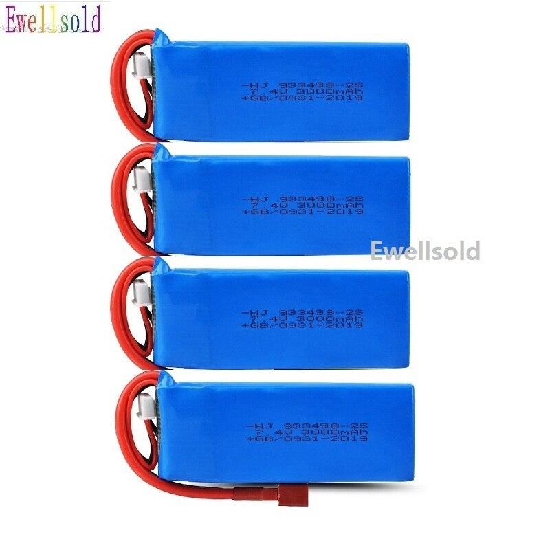 Ewellsold 1-4pcs 7.4V 3000mAh Lipo Battery 2S For Wltoys 144001 Rc Car Spare Parts