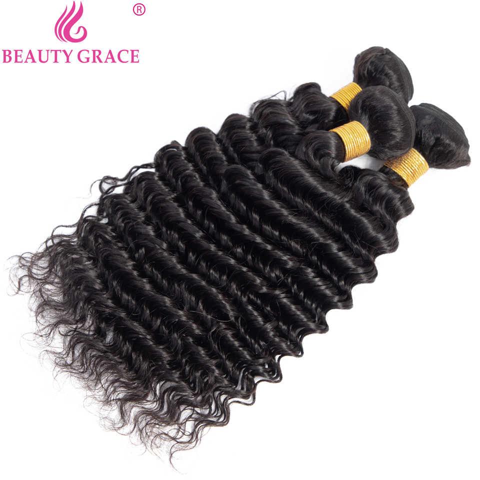BEAUTY GRACE deep wave-mechones 100% extensiones de cabello humano mechones, ofertas de extensiones de cabello no remy, extensiones de pelo ondulado mechones brasileños