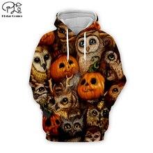 Halloween Owl pumpkin Skull print Men 3d Hoodies Sweatshirt tshirt Day of dead harajuku pullover Autumn women unisex Tracksuit худи print bar skull owl