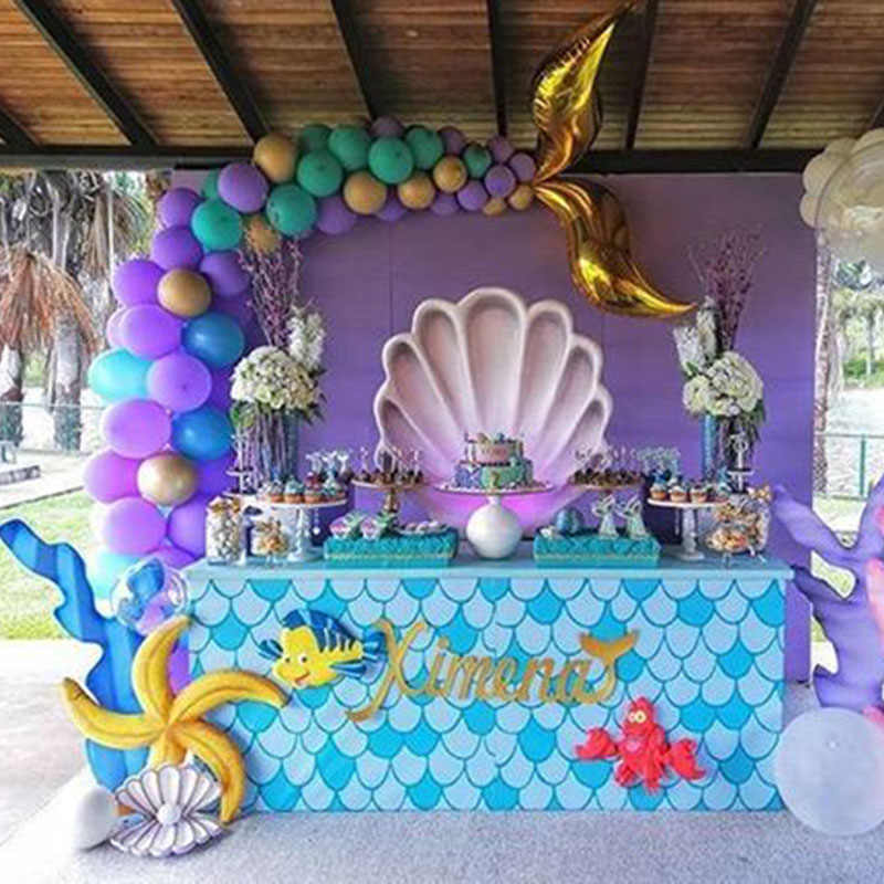 Mermaid Party Theme Mermaid Tail Balloons Little Mermaid Seashell Mermaid Party Decoration Under The Sea Party Mermaid Balloons