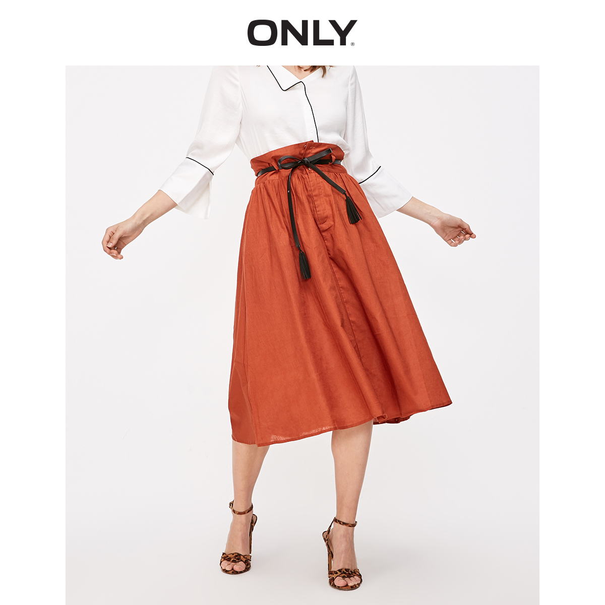 ONLY Women's Pure Color High-rise Cotton Linen A-lined Skirt | 119116537