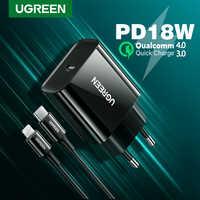 UGREEN-cargador USB tipo C para iPhone y Huawei, cargador PD de 18W, carga rápida 4,0, QC, para iPhone 12 X Xs 8 iPad