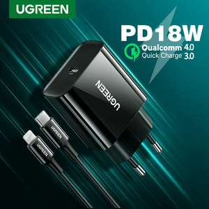 UGREEN PD Charger 18W Quick Charge 4.0 3.0 QC Fast Charger for iPhone 12 X Xs 8 iPad USB Type C Charger for Xiaomi Huawei