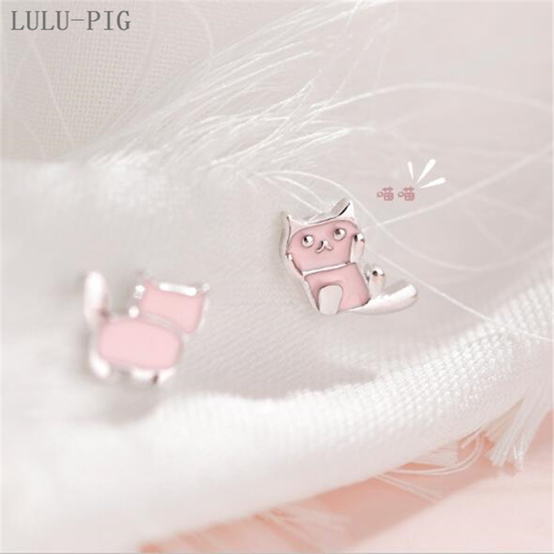 LULU-PIG New User BONUS Asymmetrical cat stud lady sterling silver 2019 new style cute little web celebrity stud CED007 image