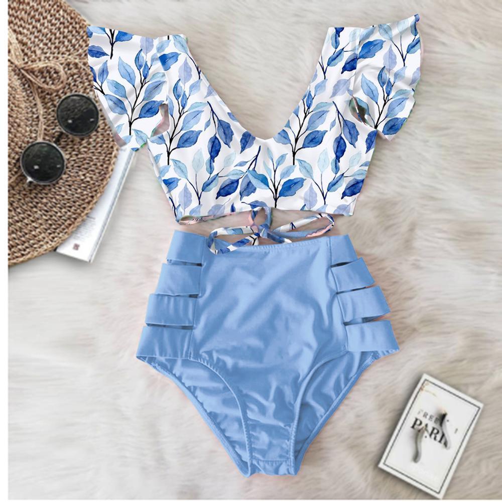 2020 Print Swimwear Women High Waist Bikini Ruffle Swimsuit Push Up Bikinis Set Bathing Suit Beach wear Summer Biquini Female 3