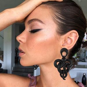 Image 3 - Godki trendy charms 큰 트위스트 뱀 문 귀걸이 여성을위한 럭셔리 전체 입방 지르콘 웨딩 신부 두바이 매달려 귀걸이