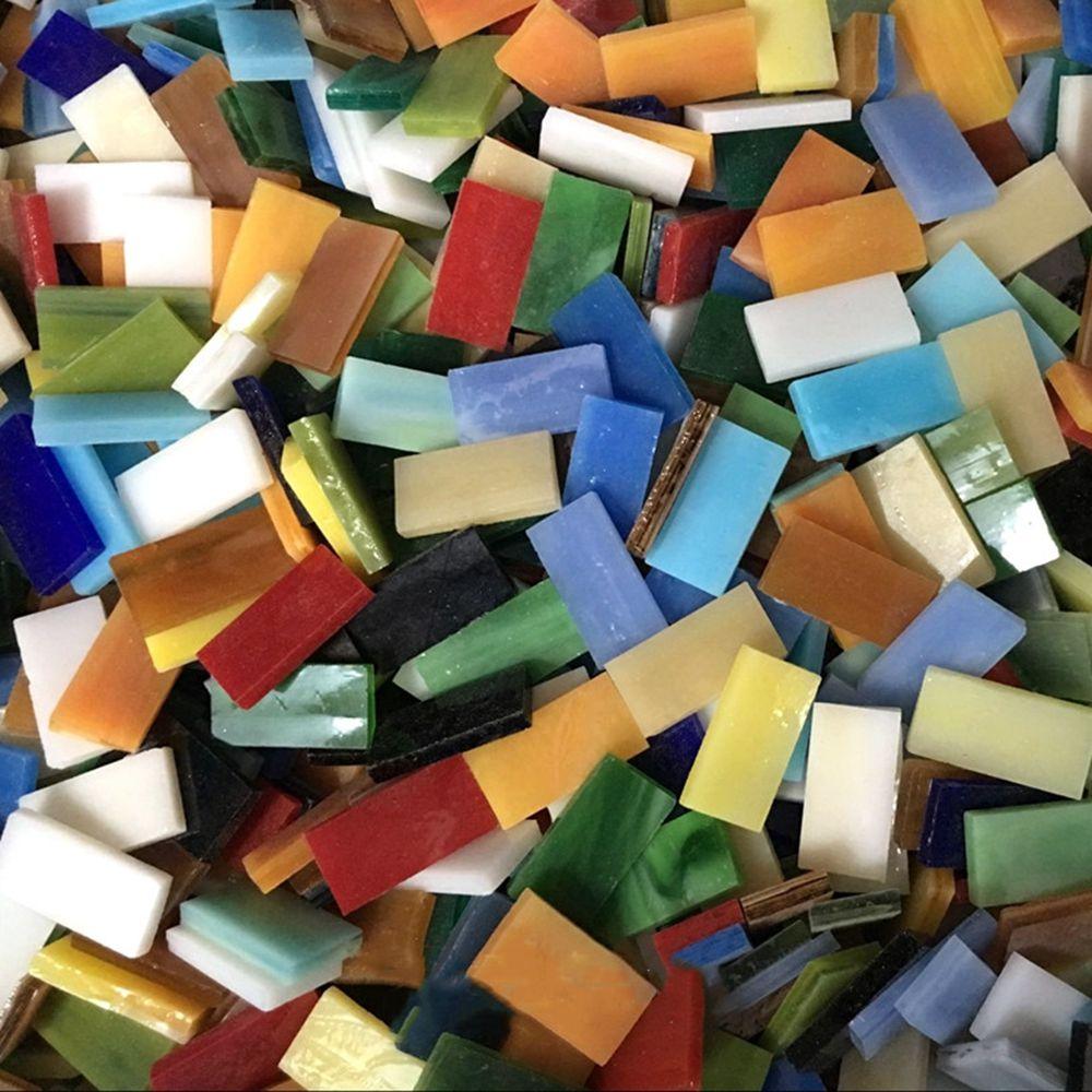 100g DIY creativo de Color mezclado mosaico incrustaciones de azulejos de pared hecho a mano materiales de vidrio de Mica pieza de Collage Regular Material artesanal ZXY9798 3D rompecabezas de espuma segura modelo de construcción de la arquitectura Diy casa Diy Rosa encantadora casa de la muchacha MUEBLES CAMA juguetes para niños