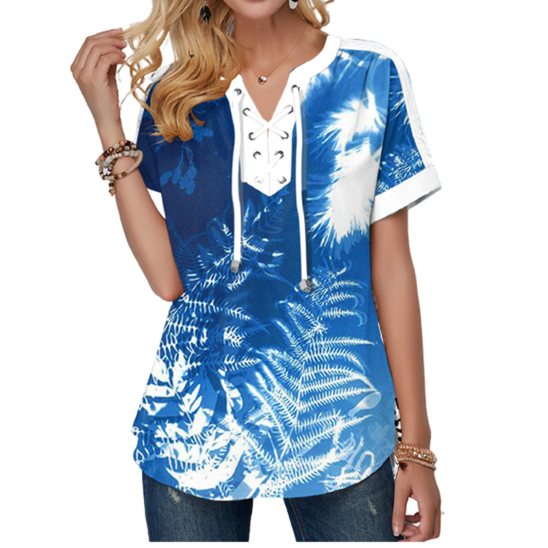 New Summer Women Blouses 3D Print Tie Dye Gradient Tops Casual Short Sleeve V-Neck Lace Up Oversize Shirt 5XL Loose Tops 9