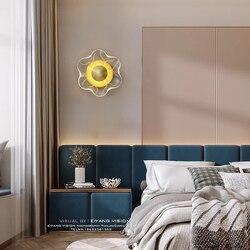 Modern Led Bedside Wall Lamp Golden Copper Flower Acrylic Staircase Light Aisle Corridor Interior Decorative Lighting Fixtures