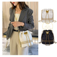 2020 New Korean Trendy Rhombus Embroidery Thread Chain PU Leather Lady Bucket Bag Fashion Handbag Shoulder Messenger for Women(China)