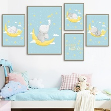 Cartoon Baby Elephant Moon Star Nursery Wall Art Print Canvas Painting Nordic Posters And Prints Pictures Kids Room Decor