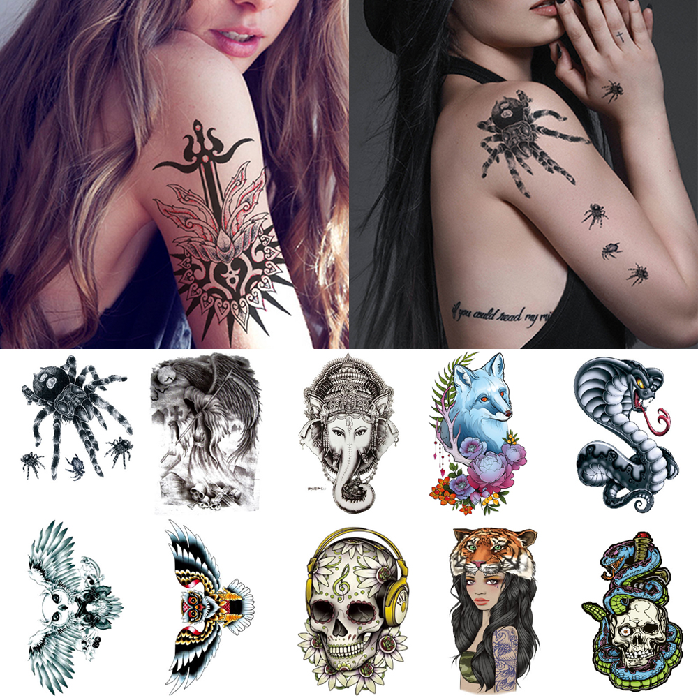 Arm Temporary Tattoo Sticker Snake Spider Fox Realistic Waterproof Tattoos Skull Totem Arm Sexy Tattoo For Men And Women