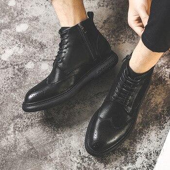 Korean design men fashion desert boots genuine leather bullock shoes carved brogue shoe cowboy boot ankle bota masculina botines