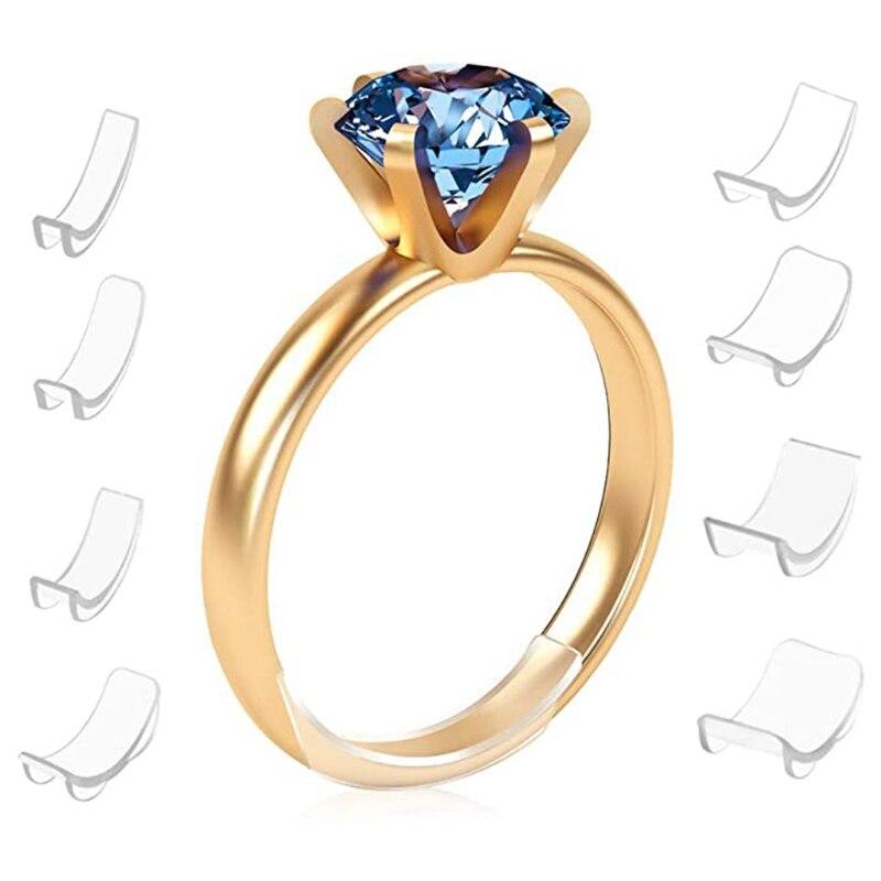 8 tamanhos de silicone invisível limpar anel tamanho ajustador resizador anéis soltos redutor|Equipamentos e ferramentas p/ joias|   -