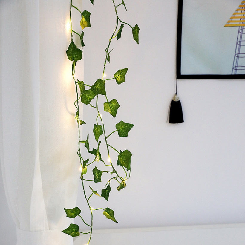 New 2M Ivy Leaf Garland Fairy Holiday Lights AA Battery Powered Led String Copper Lights For Wedding Lawn Yard DIY Lighting