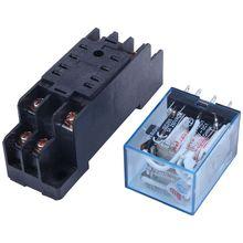 цена на 220/240V AC Coil DPDT Power Relay MY2NJ 8 Pin w Socket Base
