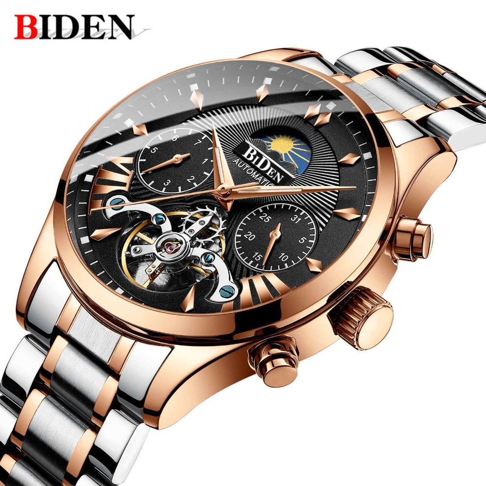 Automatic Mechanical Watch Men Watch BIDEN Multifunction Chronograph Stainless Steel Clock Luminous Gifts WristWatches for Mens