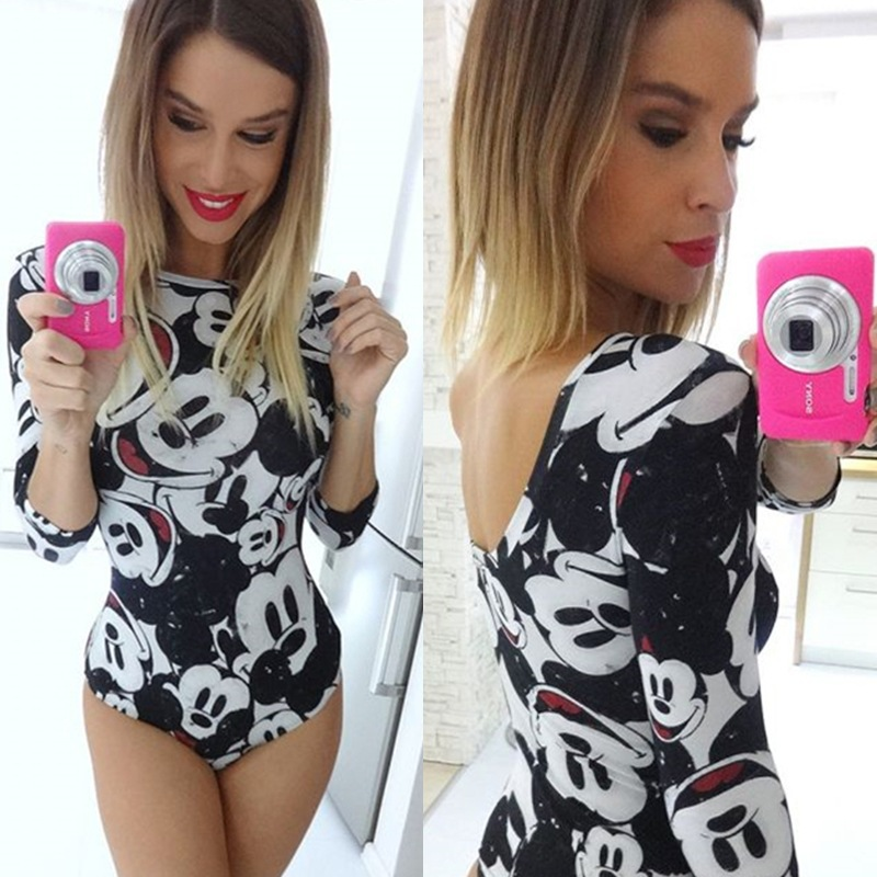 DISNEY Minnie Mickey  Women Bodysuit Women Female Swimwear Swimsuit Romper Skinny Jumpsuit Bodies Woman Sexy Birthday Party