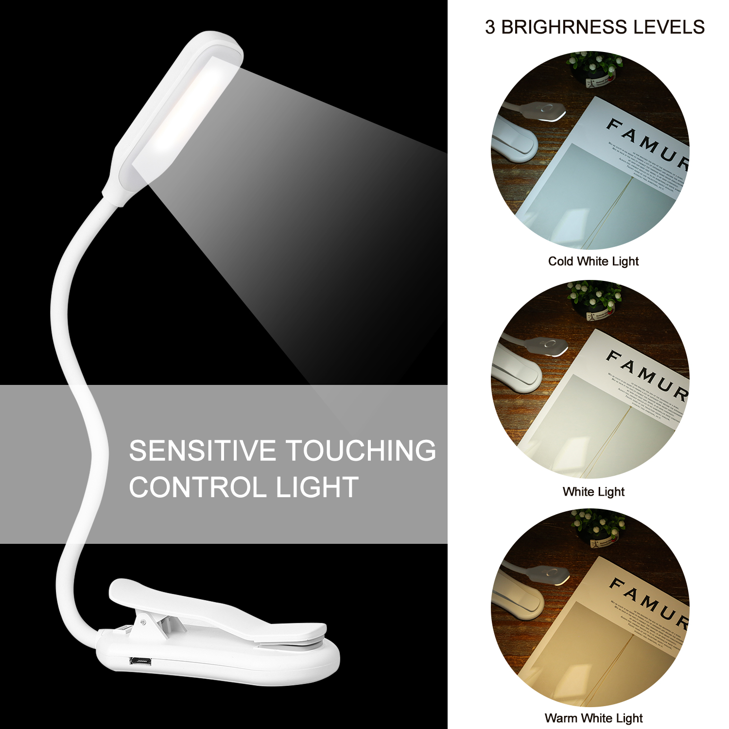 Clip On LED Table Lamp USB Rechargeable Lamp Eye Protect Desk Reading Lamp for Reading Bedside Bedroom