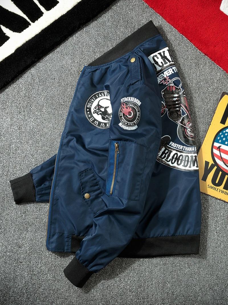 Motorcycle-Jacket Ma-1 bomber Spring Pattern-Pilot Korean Military Fashion Mens