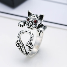 Retro Little Cat Animal Thai Silver Female Birthday Gift 925 Sterling Silver Lady Finger Rings Jewelry Women No Fade Party Ring f i n s vintage old 925 sterling silver rings for women retro round elizabeth portrait finger ring female costume fine jewelry