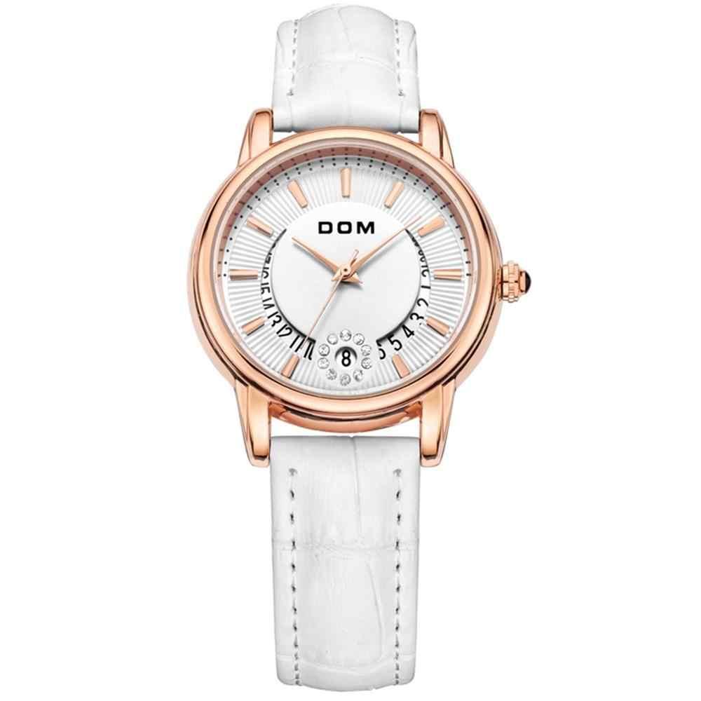 Relógios femininos dom moda senhoras casual marca de luxo pulseira de couro relógio horas quartzo-calendário de relógio montre femme G-1698GL-7M
