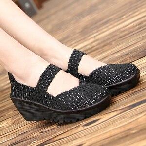 Image 3 - 2020 נשים קיץ פלטפורמת נעליים לנשימה בעבודת יד ארוג דירות נעלי אופנה נעלי ספורט נשים רב צבעים סנדלי גודל גדול 42