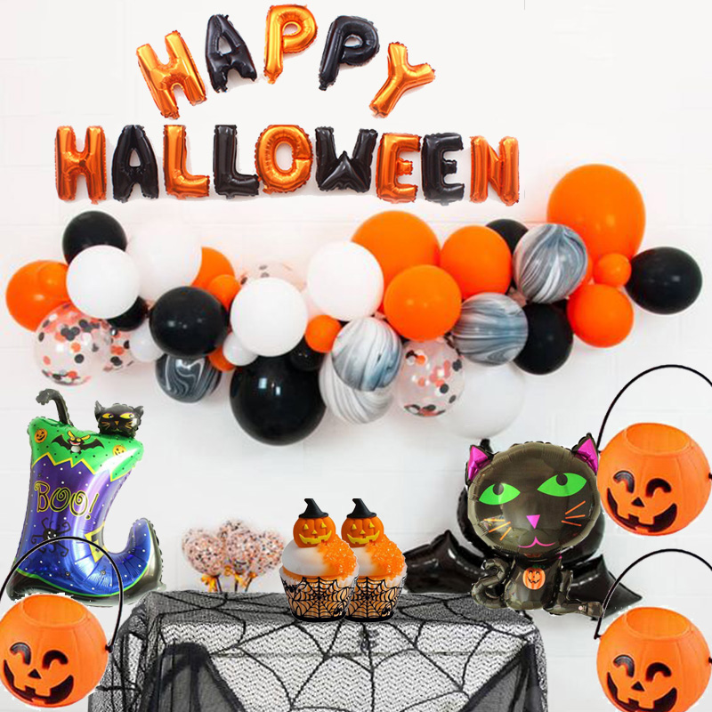 MEIDDING Happy Halloween Foil Balloons Banner Garland Party Decoration Baloons Candy Box Cake Wrapper Tableware Supply