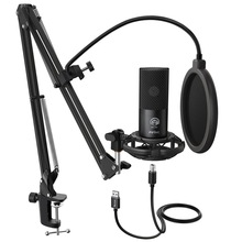 FIFINE Studio Condenser USB Computer Microphone Kit With Adjustable Scissor Arm Stand Shock Mount for YouTube Voice Overs T669